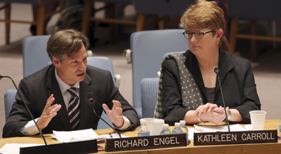 NBC's Richard Engel and AP's Kathleen Carroll at the U.N. Security Council. (AP/Mary Altaffer)