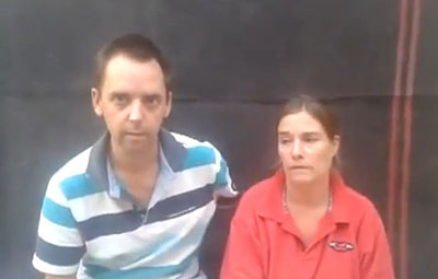 A screenshot taken from YouTube shows the Dutch journalist and her husband pleading for their lives. (YouTube)