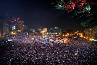 Tahrir Square erupts after the army ousts Morsi. (AP/Amr Nabil)