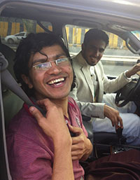 Abdulelah Hider Shaea smiles after being released from jail. (Reuters/Farouq al-Sharani)