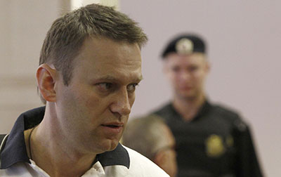 Aleksei Navalny attends his court hearing on July 2. (Reuters/Sergei Karpukhin)