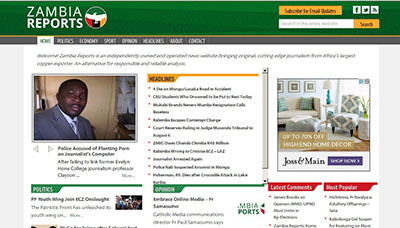 The home page of Zambia Reports, the news website blocked by the Zambian government.