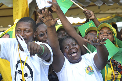 Chama Cha Mapinduzi supporters celebrate after Jakaya Kikwete wins the 2010 election. The next elections are scheduled for 2015. (AP/Khalfan Said)