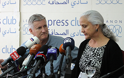 The parents of Austin Tice hold a press conference in Beirut. Tice has been missing for a year. (AFP/Anwar Amro)