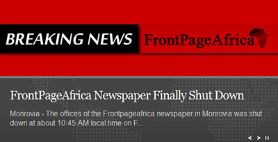 A screen shot of FrontPageAfrica's home page.