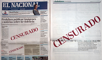 A 2010 edition of the El Nacional paper shows the word 'Censored' on its front page. (AFP/Juan Barreto)