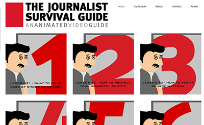 The home page of SKeyes' interactive 'Journalist Survival Guide.'