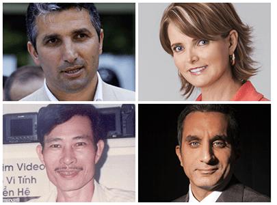 Clockwise from top left: Nedim Şener, Janet Hinostroza, Nguyen Van Hai, Bassem Youssef (AP, Sebastián Oquendo, To Coucle Refaat, Free Journalists Network of Vietnam)