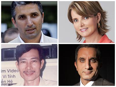 Clockwise from top left: Nedim Şener, Janet Hinostroza, Bassem Youssef, Nguyen Van Hai (AP, Sebastián Oquendo, To Coucle Refaat, Free Journalists Network of Vietnam)