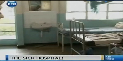 A screenshot of KTN's broadcast shows a room in the Bungoma District Hospital. The scandal is being referred to as 'The Sick Hospital.' (YouTube/KTN)