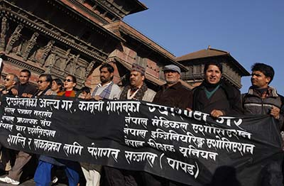 Journalists protest the killing of Uma Singh in Nepal in 2009. (AP/Binod Joshi)