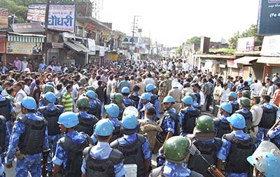 Security forces arrive in Muzaffarnagar following clashes between Hindus and Muslims. (AP)