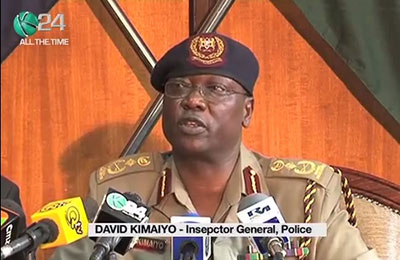 In this screenshot, Kenyan Police Chief David Kimaiyo holds a press conference on October 23 in which he harshly criticizes the press. (K24TV)