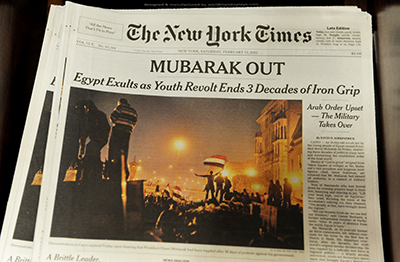 The front page of The New York Times, the day after President Hosni Mubarak was ousted from office. (AFP/Stan Honda)
