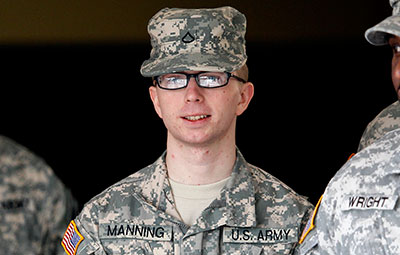 Army Pvt. Chelsea Manning (then known as Pvt. Bradley Manning) was arrested for the most voluminous leak of classified documents in U.S. history. (AP/Patrick Semansky)