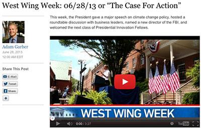 La Casa Blanca produce su propio noticiero breve, 'West Wing Week', sobre actividades que pueden no haber sido difundidas a los medios. (CPJ)