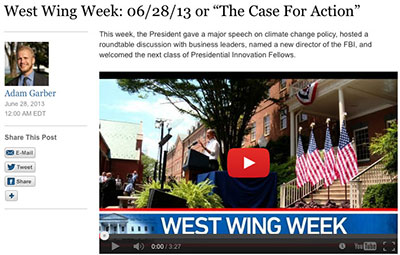 The White House produces its own short newscast, 'West Wing Week,' on events which journalists may not have known about. (CPJ)