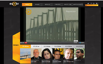 This screen shot shows EUTV's home page. (CPJ)