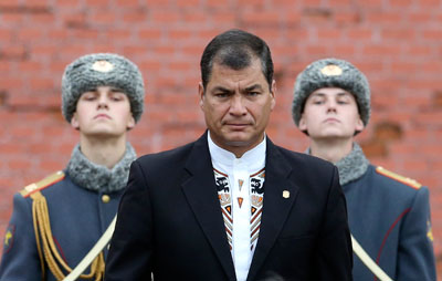 Ecuador's president, Rafael Correa, on a visit to Moscow in October 2013. (Reuters/Sergei Karpukhin)
