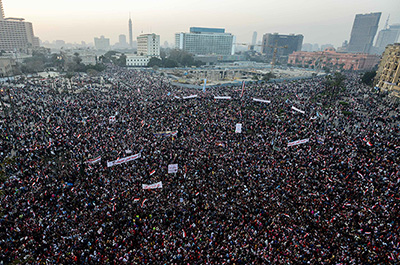 Egyptians gather in Cairo to mark the third anniversary of the uprising. (AFP/Mohamed el-Shahed)