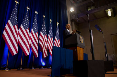 President Barack Obama talks about National Security Agency surveillance on January 17. (AP/Carolyn Kaster)