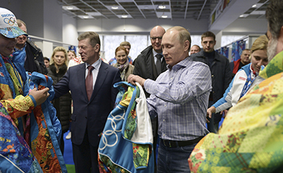 President Vladimir Putin visits a volunteer center for the Olympics in Sochi in January. (Reuters/Alexei Nikolskiy)