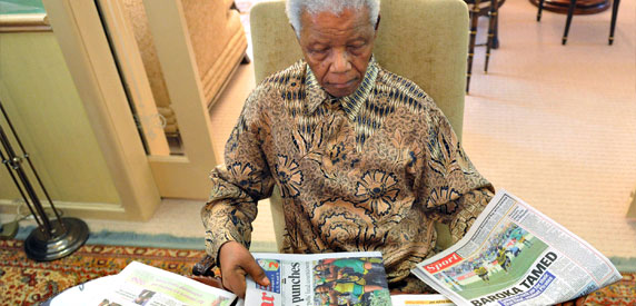 Nelson Mandela, pictured in May 2011, sometimes accused critical black journalists of disloyalty during his presidency.  (AFP/Elmond Jiyane)