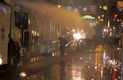 Riot police use a water cannon to disperse demonstrators during a protest against Internet censorship in Istanbul on January 18, 2014. (Reuters)
