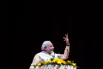 Narendra Modi is the prime ministerial candidate for India's opposition Bharatiya Janata Party in elections to be held in April. (AP/Tsering Topgyal)