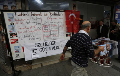 A board shows alternative ways to access Twitter at an election campaign office of the main opposition Republican's People's Party in Istanbul March 25, 2014. (Reuters/Murad Sezer)