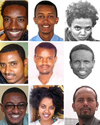 Top row, from left: Zelalem, Natnail, Mahlet. Middle row, from left: Atnaf, Abel, Befekadu. Bottom row, from left: Tesfalem, Edom, Asmamaw. (Courtesy Zone 9, Addis Guday, Facebook)
