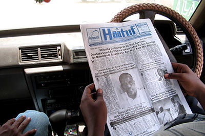 The front page of an old edition of Haatuf newspaper. A court on Thursday ordered the paper to be shut down. (Guleid Hussein)