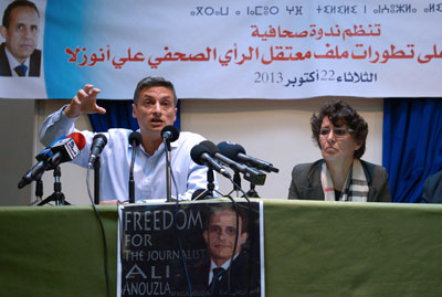 Aboubakr Jamai, left, says the Spanish prosecutor's investigation will embold the Moroccan government in its case against Ali Anouzla. (AFP/Fadel Senna)