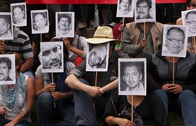 In late February, journalists protest the murder of their colleague, Gregorio Jiménez de la Cruz, and other journalists killed in Mexico. (AP/Marco Ugarte)