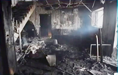 The February 2011 attack on Nalia Radio destroyed the station. (YouTube/Press TV)