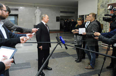 The bill to restrict blogging comes amid a series of steps by Vladimir Putin's administration to curtail independent media. (Reuters/Mikhail Klimentyev/RIA Novosti/Kremlin)