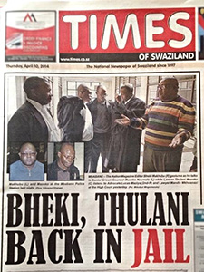 The Times of Swaziland's front page features the arrests of the editor and lawyer. (MISA Swaziland)