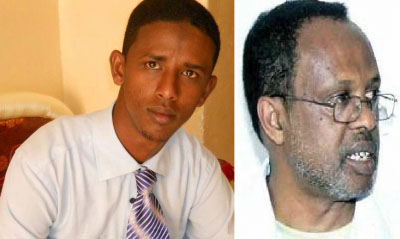Yusuf Abdi Gabobe and Ahmed Ali have been charged with libel and jailed since Saturday. (Somaliland Journalists Association)