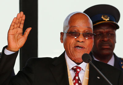 South African President Jacob Zuma is sworn in for a second term in Pretoria, South Africa, on May 24. (AP/Siphiwe Sibeko)