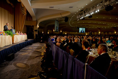 President Obama speaks during the White House Correspondents' Association dinner in Washington on May 3. (AP/Jacquelyn Martin)