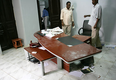The aftermath of a raid on the offices of the Sudanese paper Al-Tayar, seen here, in which the paper's editor-in-chief was attacked. (AFP/Ebrahim Hamid)