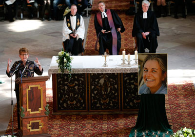 Associated Press Senior Vice President and Executive Editor Kathleen Carrol, left, speaks during the funeral of Anja Niedringhaus in Hoexter, Germany, on April 12, 2014. (AP/Frank Augstein)