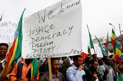 People demonstrate in Addis Ababa on May 24 against security forces who shot at students at a peaceful rally weeks eearlier in Oromia state. (Reuters/Tiksa Negeri)
