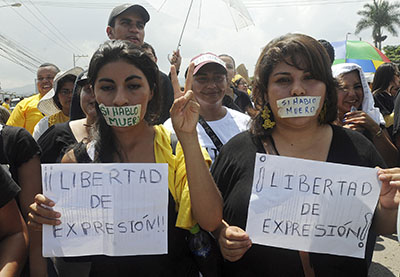 Journalists in Honduras join a rally calling for greater press freedom. (AP/Fernando Antonio)