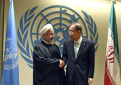President Hassan Rouhani of Iran, left, with U.N. Secretary-General Ban Ki-moon, in New York on September 23. Rouhani is due to address the General Assembly on September 25. (AFP/Jewel Samad)