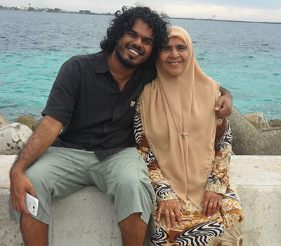 Ahmed Rilwan Abdulla, pictured with his mother Aminath Easa, went missing on August 8, 2014. (Ya'sha Adnan)