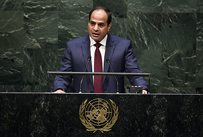 Egypt's President al-Sisi addresses the U.N. General Assembly on September 24. He promised to guarantee freedom of press, but journalists are still imprisoned. (AFP/Jewel Samad)