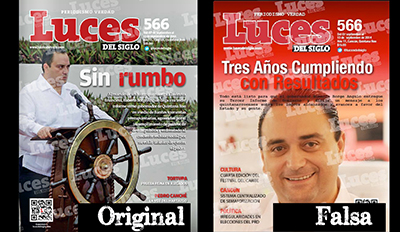 The original cover, left, shows the governor under the headline Aimless but the fake cover, right, states Three Years of Delivering. (Articulo 19)