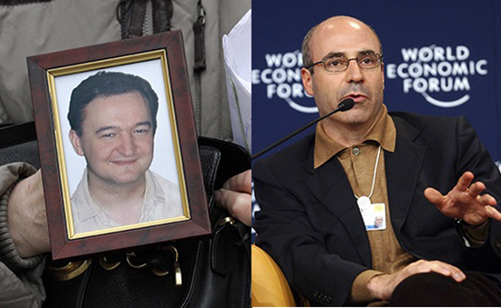 The 2009 death in prison of Russian lawyer Sergei Magnitsky, left, spurred a campaign launched by his friend, William Browder, right. The resulting law, the Sergei Magnitsky Rule of Law Accountability Act, requires the U.S. government to deny visas to and freeze the assets of any individuals deemed culpable in Magnitsky's death. (Left: AP/Alexander Zemlianichenko. Right: AP/Virginia Mayo)
