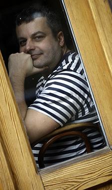 Tamás Bodoky, editor-in-chief of Atlatszo, which advocates for information access. (AFP/Peter Kohalmi)